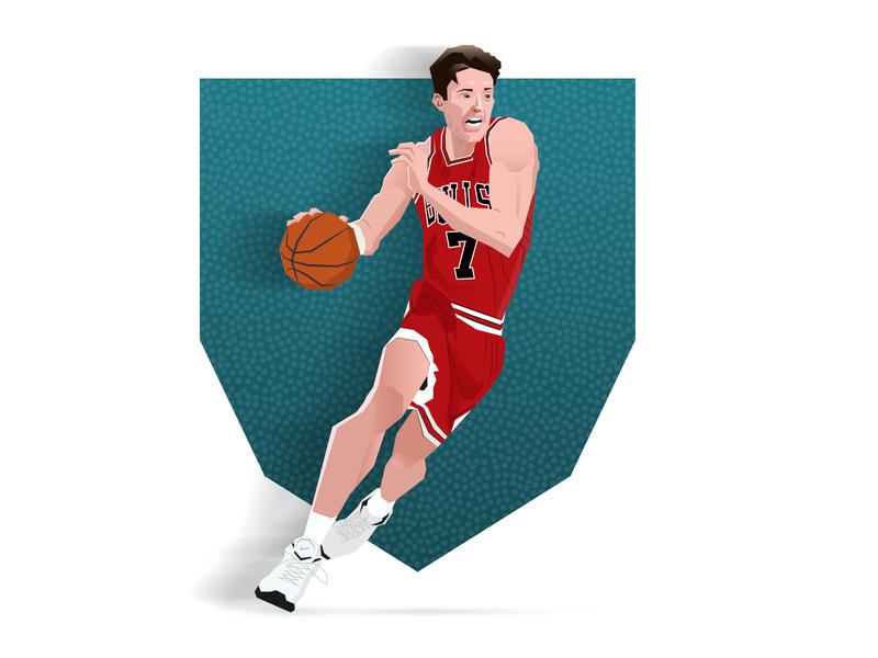 "Toni ""The Croatian Sensation"" Kukoc vector michael jordan nba the last dance illustration dunk chicago bulls basketball 90s"