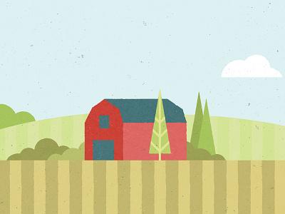Barn illustration graphic farm barn fields trees modern vector simple minimal