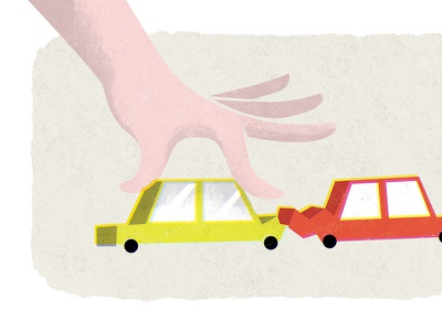 Playing with Cars illustration editorial play cars toys safety simple minimal spot