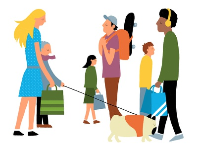 People Shopping illustration editorial characters walking walk shopping people spot