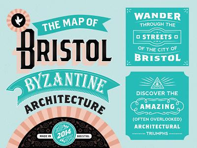 Bristol Byzantine Map lettering typography map stamp badge victorian bristol 1900 english classic