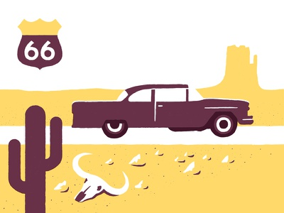 Baron Fig illustration screenprint poster modern graphic minimal bold desert car road skull drawing