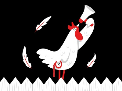 The Stable white black red feather bird stable pizza menu cockerel rooster character illustration