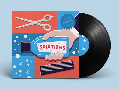 Solutions scissors shampoo album vinyl record grid vintage retro advertisting music albumart illustration