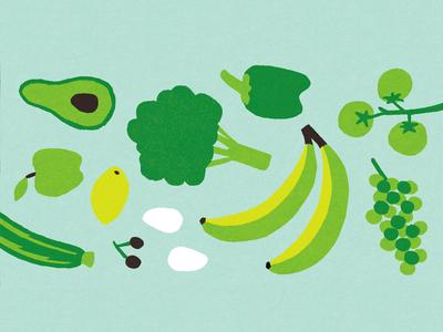 Wholefoods avocado apple grapes banana editorial texture illustration pattern vegetables fruit food wholefoods