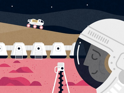 Mars Mission illustrator cosmic solar nasa mars spaceship spacesuit sci-fi vector space illustration