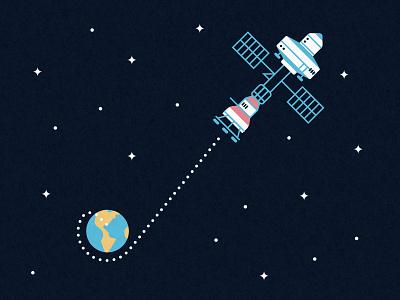 Mars Mission vector mars spaceship space solar sci-fi nasa earth illustrator illustration cosmic