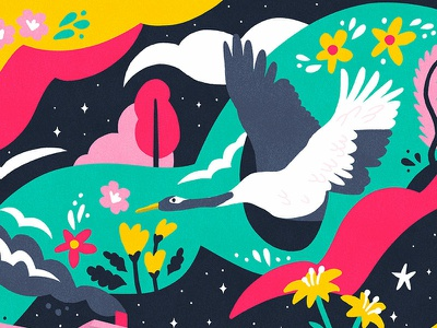 Psychedelic Bird dream acid floral vibrant colorful bird art psych psychedelic illustration
