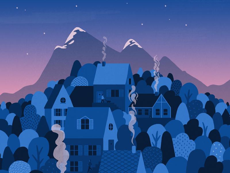 Dawn Mountain Village trees cottage house artwork wilderness morning calm mountains woods village illustration