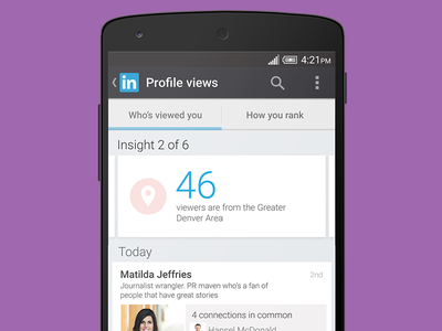 LinkedIn for Android profile views screen linkedin ui interaction design ux map android