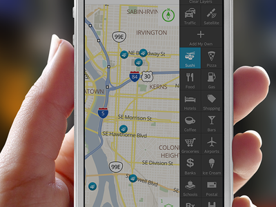 Map layers tray ui interaction design ux map ios