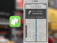 Mapping app navigation screen