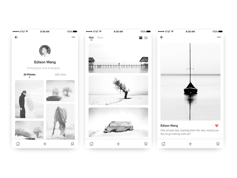 Simplified photography black simple ui daily app photography