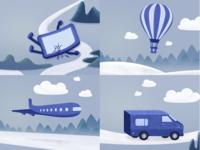 A set of life scenes illustrations
