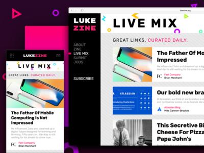 LUKE-ZINE: Online Newsletter/Curated News Feed responsive website newsletter news feed magazine