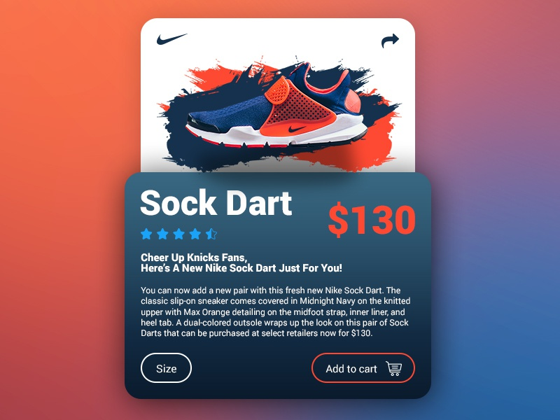 the best attitude 72a33 7e98b Nike Sock Dart Navy   Orange - UI Product Card Concept store cart checkout  web ux