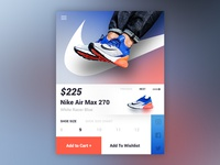 Nike Air Max 270 White Racer Blue - UI/UX Product Card Concept