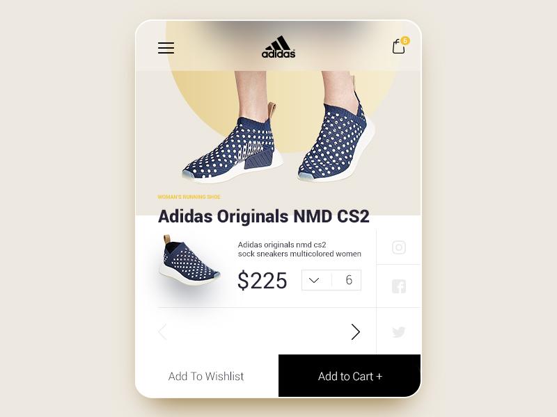 6071b460e Adidas Originals NMD CS2 - UI UX Mobile Product Card Cart by Adrian ...