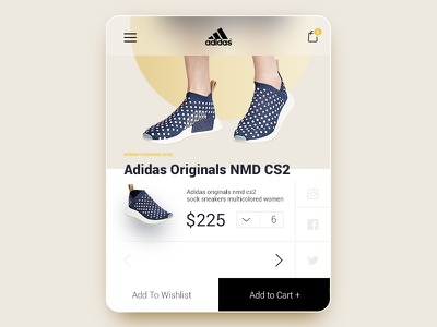 Adidas Originals NMD CS2 - UI/UX Mobile Product Card Cart store web ux ui shop shoe product mobile fashion e-commerce checkout cart