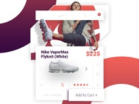 Nike VaporMax Flyknit White - ui/ux product card concept