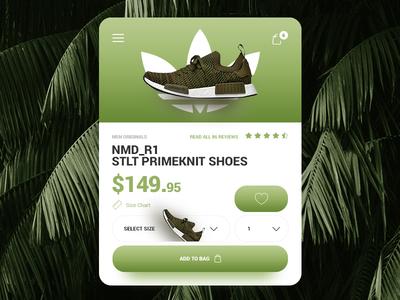 ADIDAS NMD_R1 STLT PRIMEKNIT - UI/UX MOBILE STORE CONCEPT web ux ui store shop shoe product mobile fashion e-commerce checkout cart