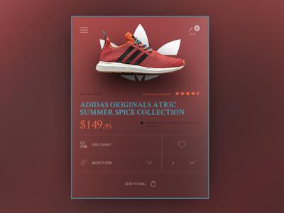 ADIDAS ORIGINALS ATRIC COLLECTION MOBILE STORE CONCEPT web ux ui store shop shoe product mobile fashion e-commerce checkout cart
