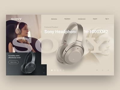 Sony Landing Page Re-Design Concept page site store web ui ux minimal landing design headphone sony