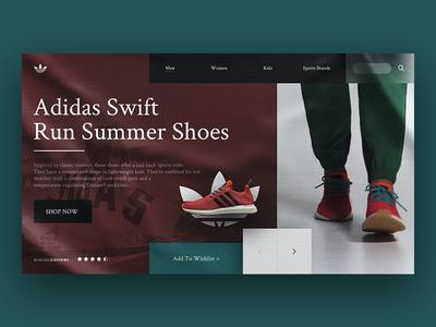 Adidas Landing Page Re-Design Concept landing minimal ui web webdesign webpage website page