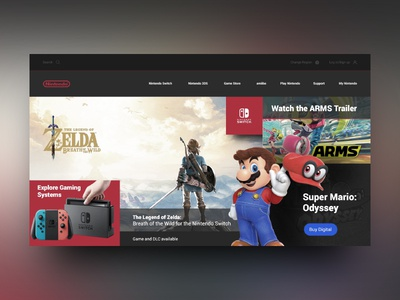 Nintendo Landing Page Re-Design Concept design zelda mario landing page site nintendo ui ux web dark interface