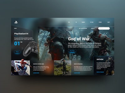 Playstation Landing Page Re-Design Concept play station home interface web ux ui playstation site page landing fashion design