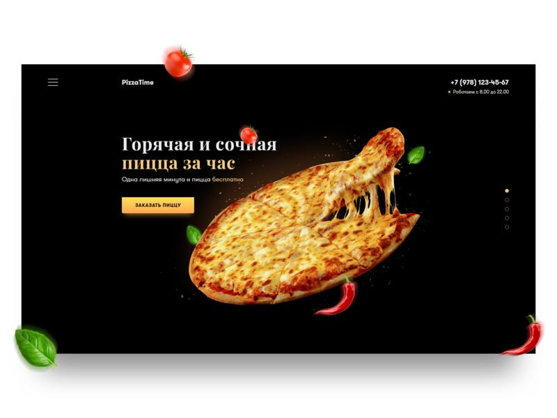 Pizza Daily UI Concept ui design web ux design food delivery basil pepper tomato black concept madewithadobexd design ux ui landing pizza