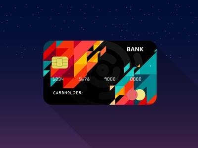 Credit Card Design bank red and green abstract colours credit card design