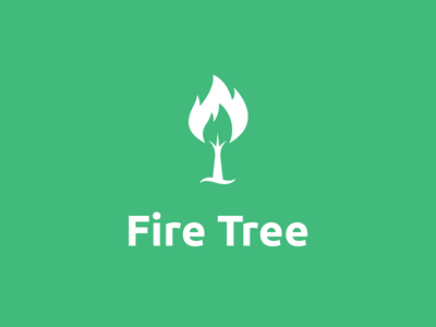 Fire Tree Logo green and white flat design fire tree logo