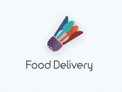 Food Delivery Logo logo design knife spoon salt shaker food delivery logo