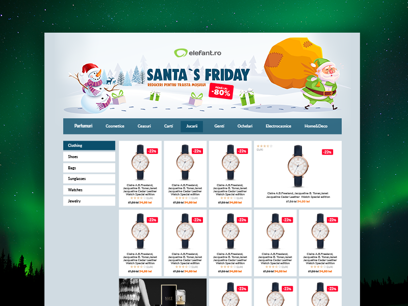 Santa`s Friday Skin presents snow santa`s friday green santa claus christmas website skin