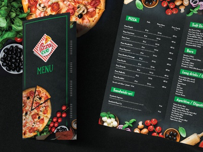 Bifold Pizza Menu italian food menu green and black restaurant menu bifold pizza menu