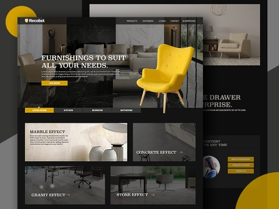 Furniture Website premium website black and yellow furniture website