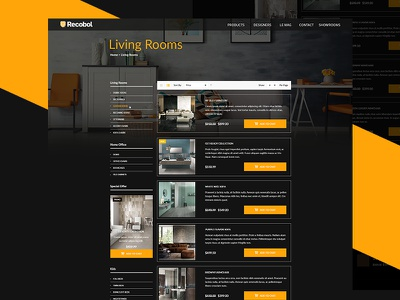Furniture Product Page black and yellow ecommerce website furniture product page