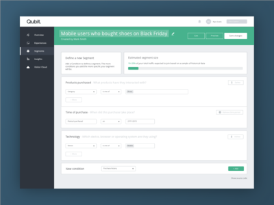 Segment builder UI builder app qubit segmentation form web ux product design design ui
