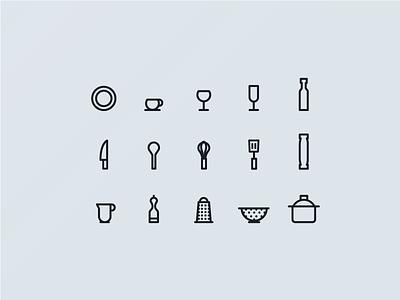 Kitchen Utensils grey illustrator utensils plate spoon glass icon set kitchen illustrations icons