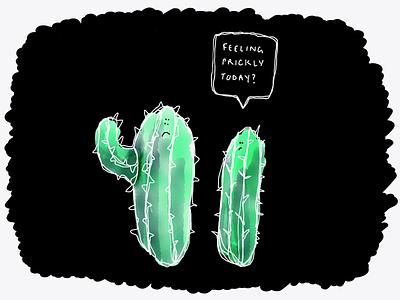 Ha Ha Very Punny No. 1 - Cactus pun sketch cactus drawing illustration