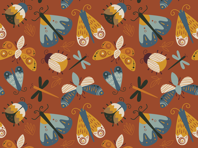 Moth Pattern fabric fall illustration fly bug insect butterfly moth seamless pattern surface