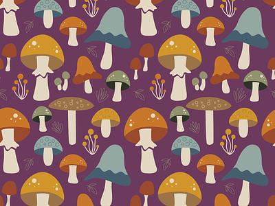 Mushroom Meadow plant purple seamless repeating fabric textile mushroom illustration pattern surface