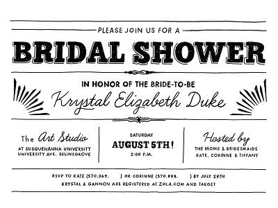 Bridal Shower shower bridal invite lines typography white black lettering invitation