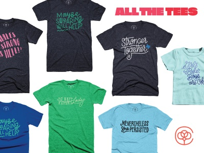 ALL THE TEES letters type shirt lettering tee cotton bureau