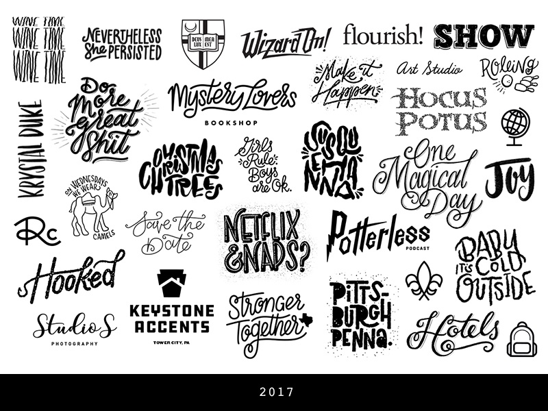 I made a bunch of stuff this year… stuff recap roundup 17 review typography lettering 2017