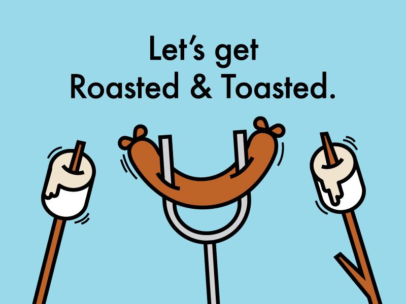 Toasted illustration picnic campfire toasted roasted hotdog bbq summer marshmallow