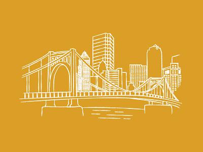 Sketchy Skyline gold yellow city skyline bridge pgh pittsburgh