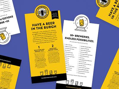 PBG Rack Brochure yellow crystal ball diecut card brochure burgh beer pittsburgh pittsburgh brewery guide brewery pgh