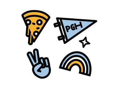 Doodles illustration outline icon blue yellow pittsburgh pennant peace outline stoke icon rainbow pizza pgh